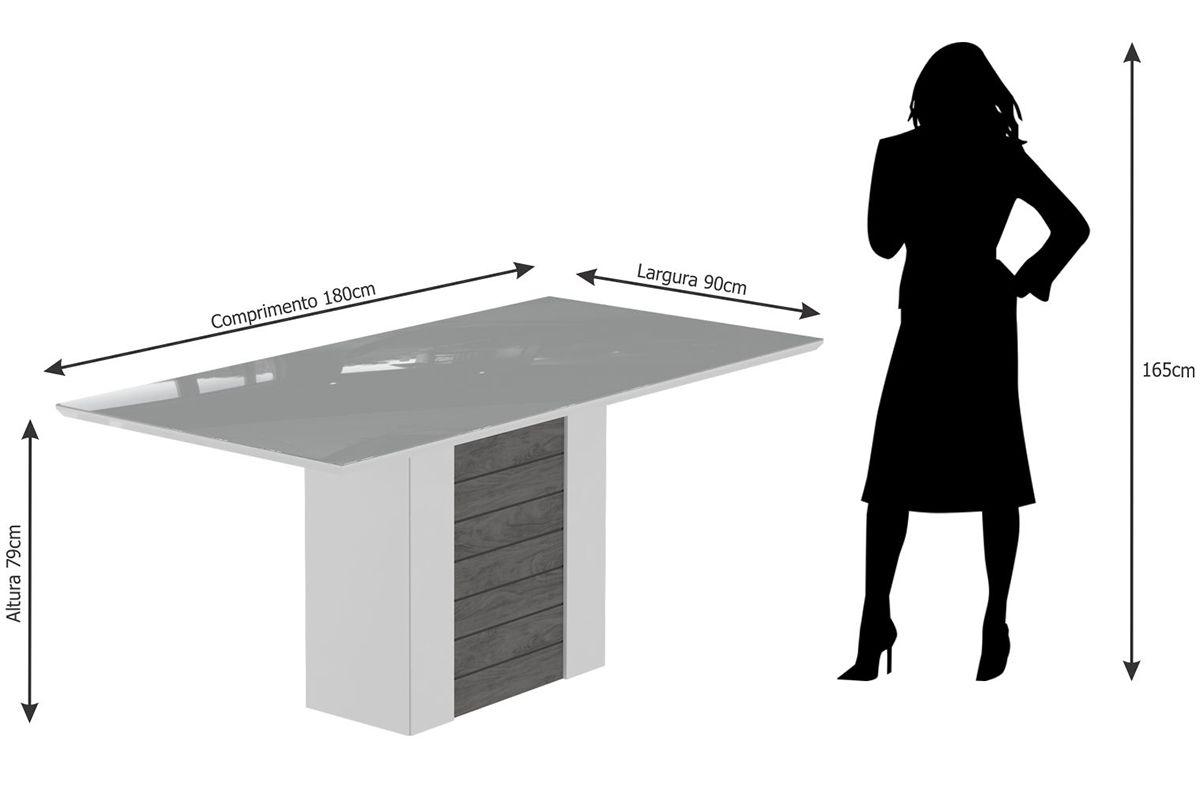 Sala de Jantar Cimol Mesa Rafaela 1800x900 Com 6 Cadeiras Milena