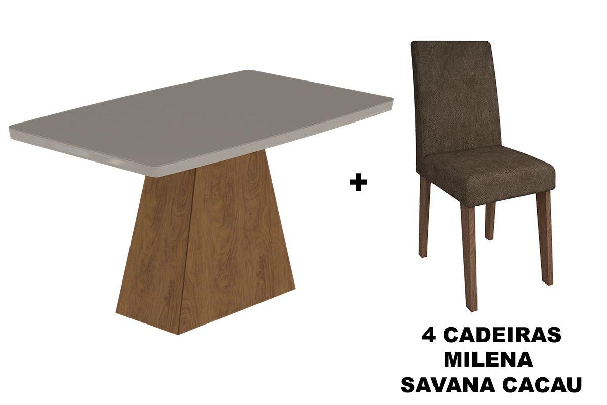 Sala de Jantar Cimol Mesa Helen 1300x800 Com 4 Cadeiras MilenaCor Savana/Off White - Assento/Encosto Cacau
