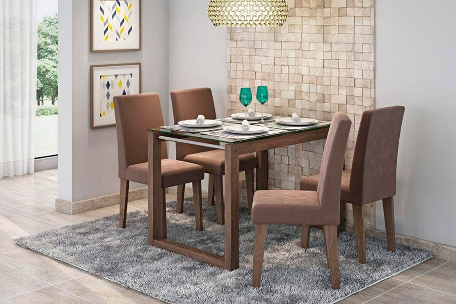 Sala de Jantar Cimol Mesa Anita 1200x800 Com 4 Cadeiras MilenaCor Marrocos- Assento/Encosto Chocolate