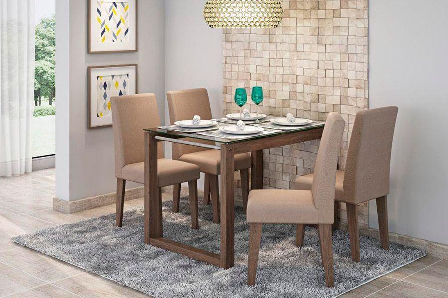 Sala de Jantar Cimol Mesa Anita 1200x800 Com 4 Cadeiras MilenaCor Marrocos- Assento/Encosto Pluma