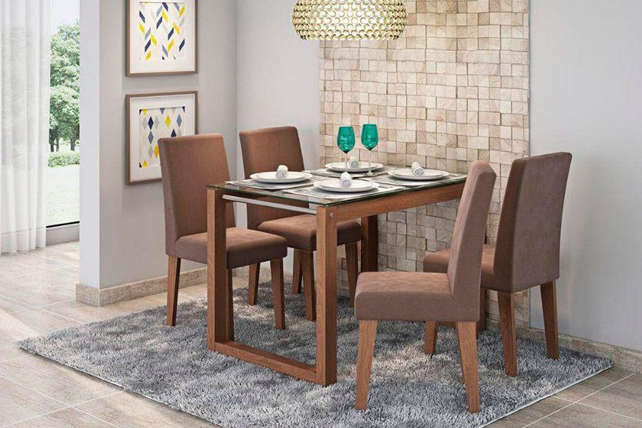 Sala de Jantar Cimol Mesa Anita 1200x800 Com 4 Cadeiras MilenaCor Savana- Assento/Encosto Chocolate