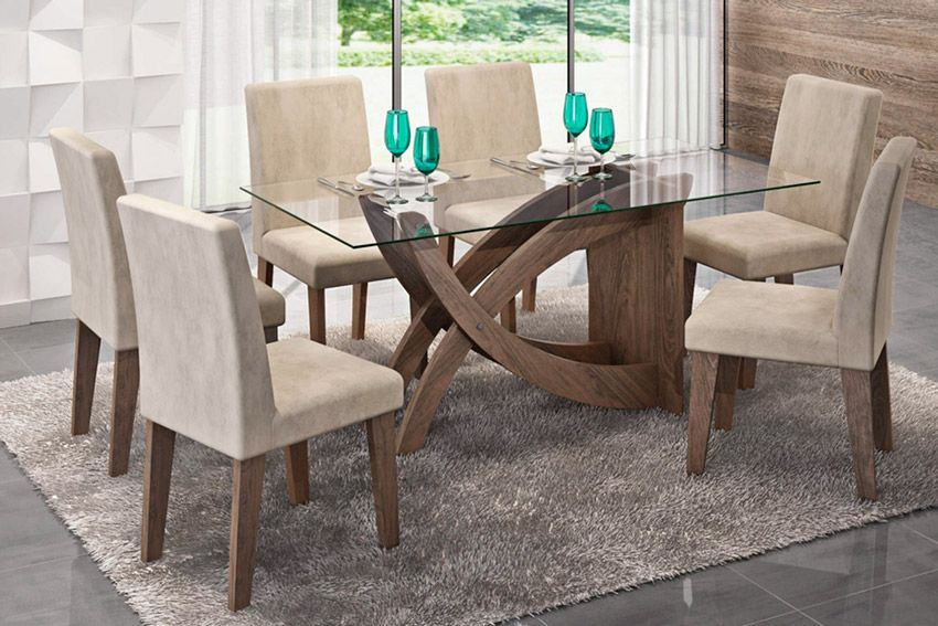 Sala de Jantar Cimol Mesa Flávia 1600x800 Com 6 Cadeiras MilenaCor Marrocos  -  Assento/Encosto Sued Bege