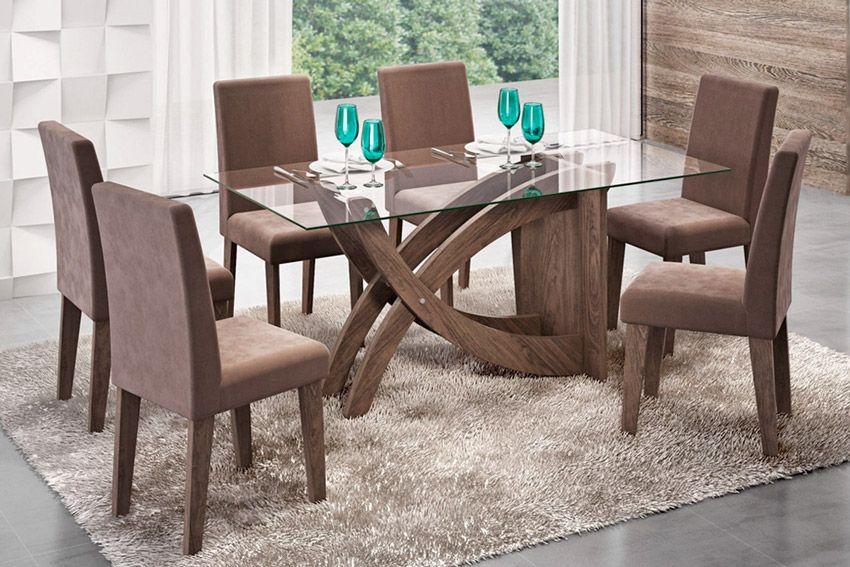 Sala de Jantar Cimol Mesa Flávia 1600x800 Com 6 Cadeiras MilenaCor Marrocos- Assento/Encosto Chocolate