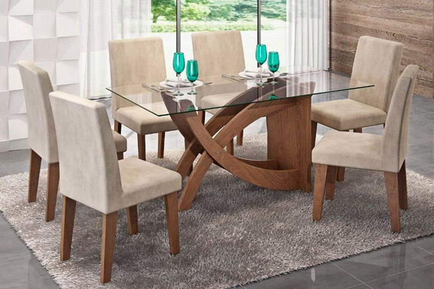 Sala de Jantar Cimol Mesa Flávia 1600x800 Com 6 Cadeiras MilenaCor Savana  -  Assento/Encosto Sued Bege