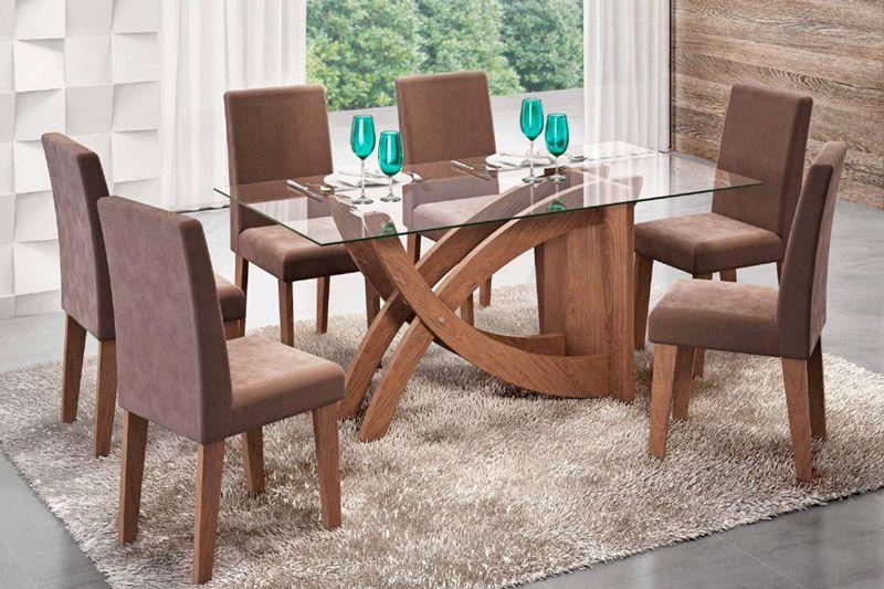 Sala de Jantar Cimol Mesa Flávia 1600x800 Com 6 Cadeiras MilenaCor Savana- Assento/Encosto Chocolate