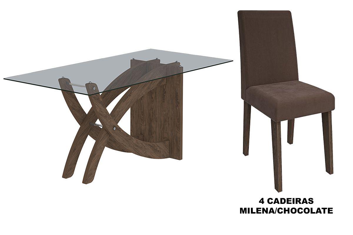 Sala de Jantar Cimol Mesa Flávia 1200x800 Com 4 Cadeiras Milena-Cor Marrocos- Assento/Encosto ChocolateCor Marrocos- Assento/Encosto Chocolate