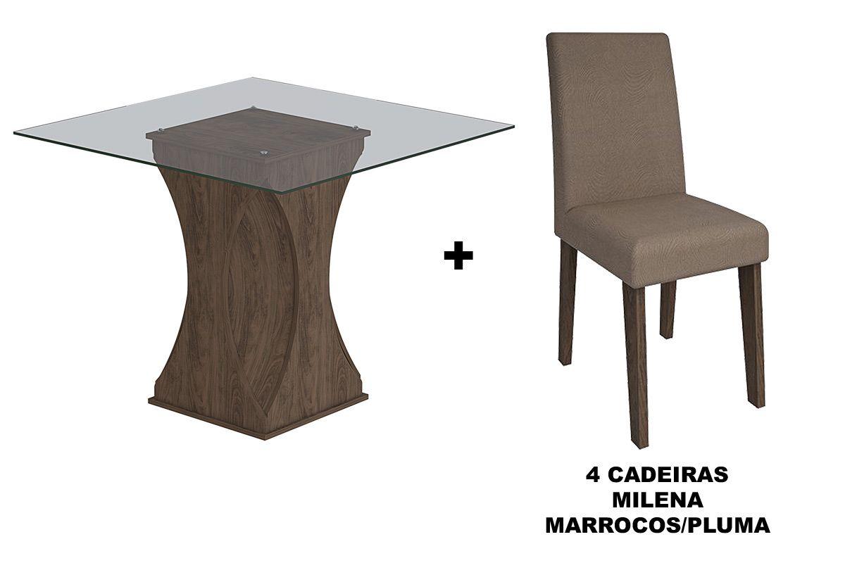 Sala de Jantar Cimol Mesa Andréia 1000x1000 Com 4 Cadeiras MilenaCor Marrocos- Assento/Encosto Pluma
