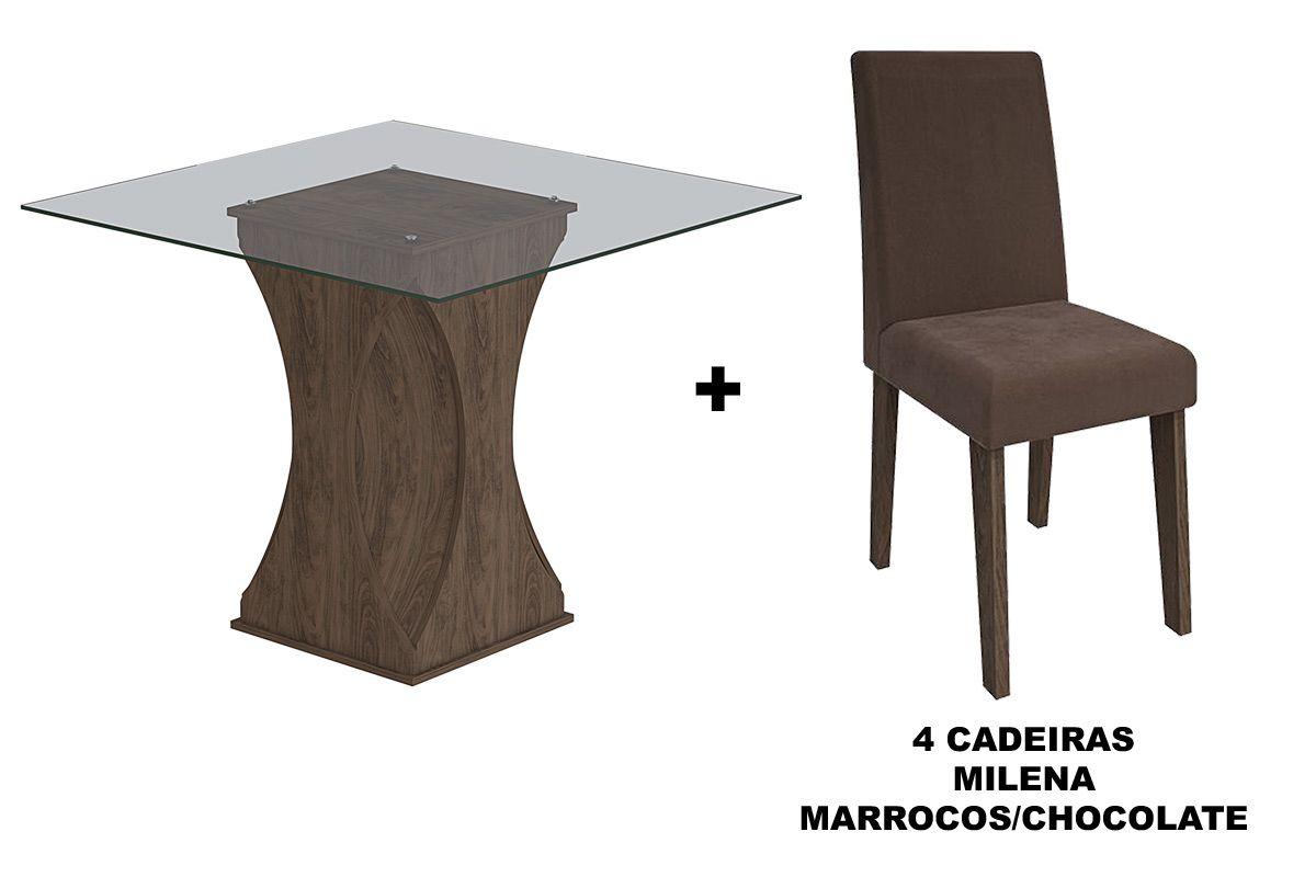 Sala de Jantar Cimol Mesa Andréia 1000x1000 Com 4 Cadeiras MilenaCor Marrocos- Assento/Encosto Chocolate