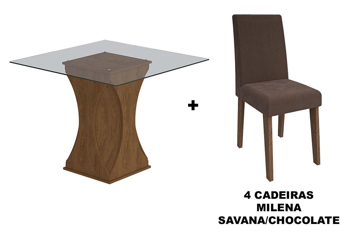 Sala de Jantar Cimol Mesa Andréia 1000x1000 Com 4 Cadeiras MilenaCor Savana- Assento/Encosto Chocolate