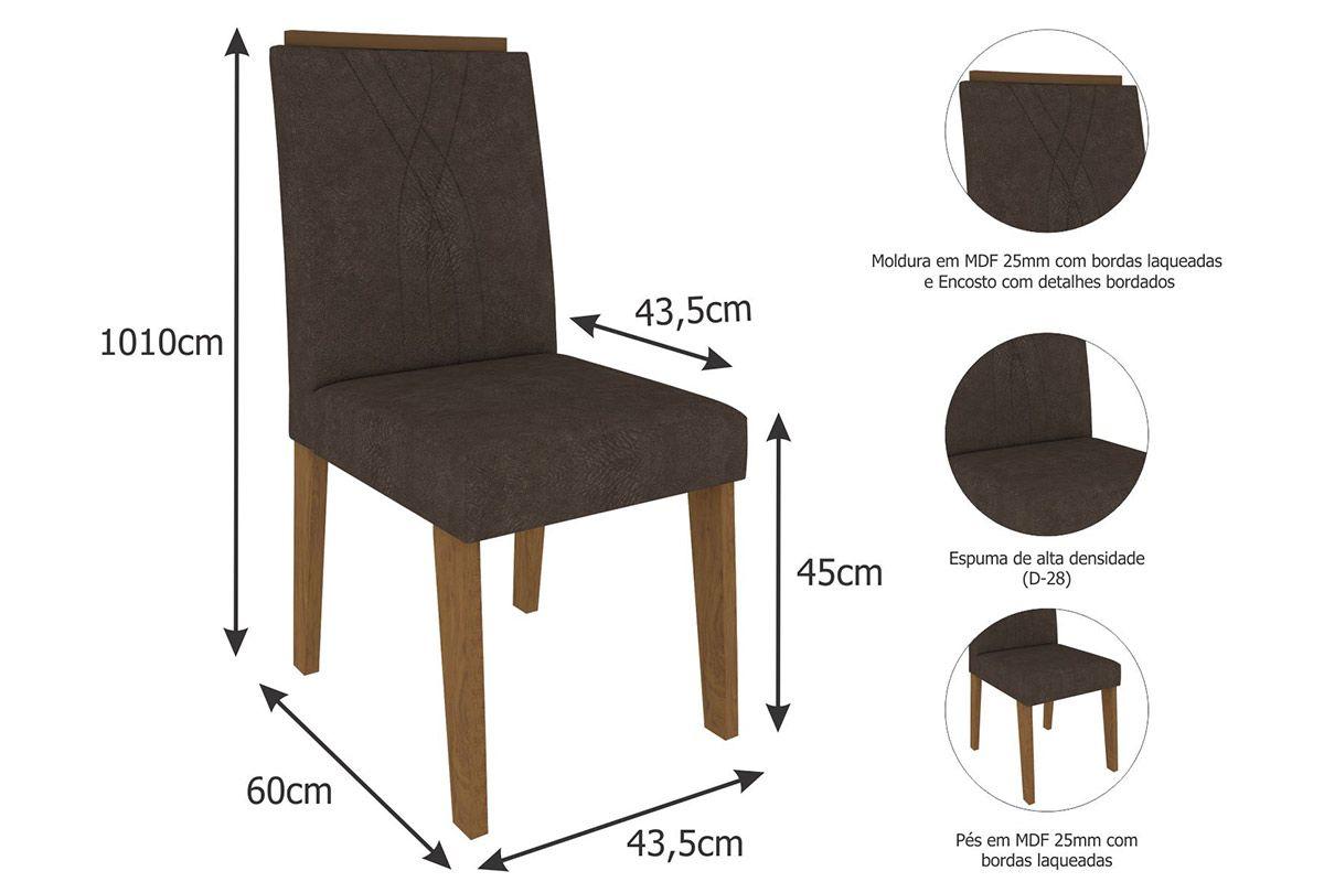 Sala de Jantar Cimol Mesa Alana 1300x800 Com 4 Cadeiras Nicole