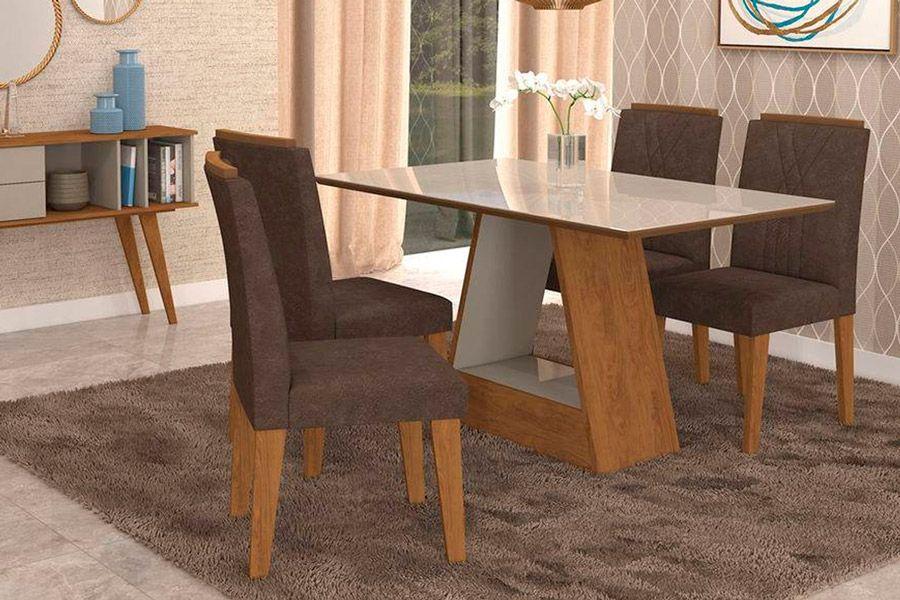 Sala de Jantar Cimol Mesa Alana 1300x800 Com 4 Cadeiras NicoleCor Savana/Off White - Assento/Encosto Cacau