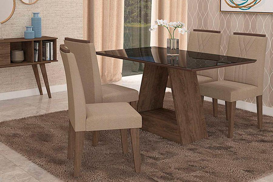 Sala de Jantar Cimol Mesa Alana 1300x800 Com 4 Cadeiras NicoleCor Marrocos/Preto - Assento/Encosto Caramelo