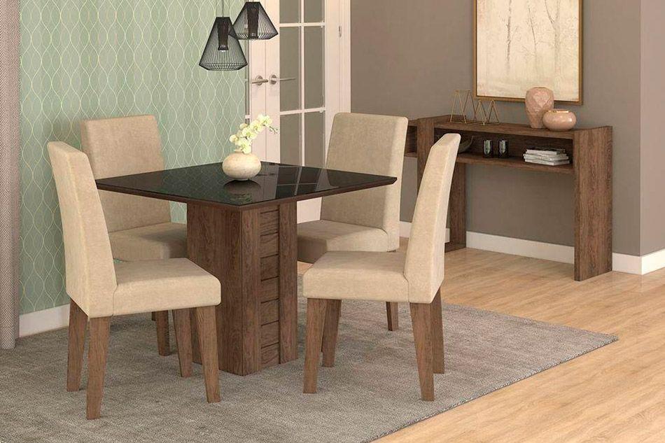 Sala de Jantar Cimol Mesa Rafaela 950x950 Com 4 Cadeiras Milena-Cor Savana/Off White - Assento/Encosto Sued BegeCor Marrocos/Preto - Assento/Encosto Sued Bege