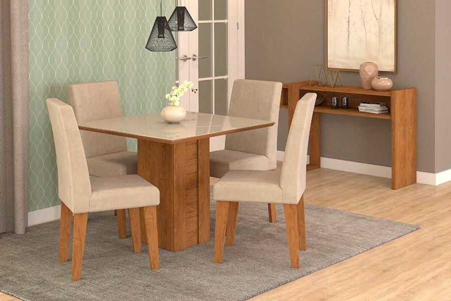 Sala de Jantar Cimol Mesa Rafaela 950x950 Com 4 Cadeiras MilenaCor Savana/Off White - Assento/Encosto Sued Bege