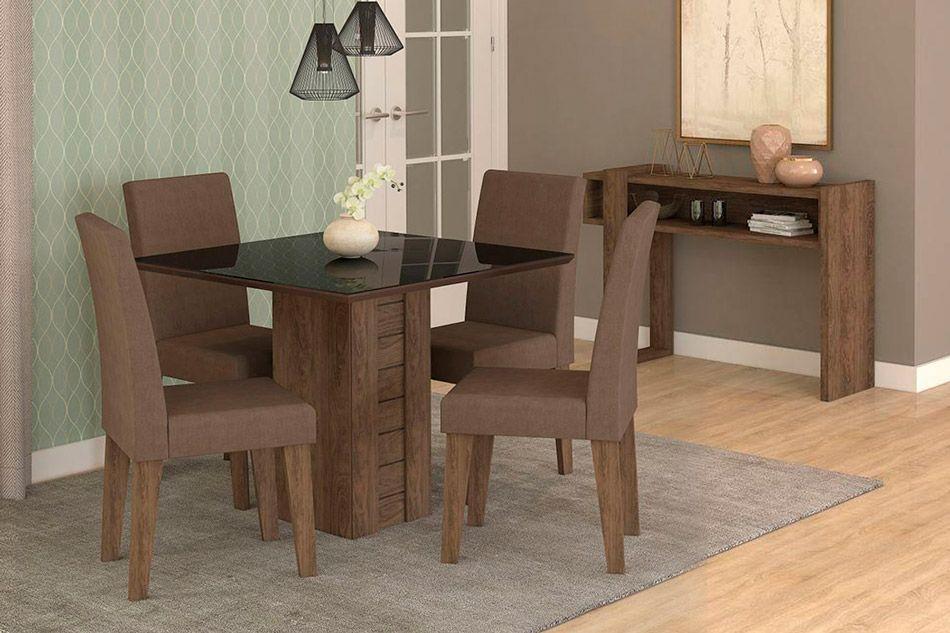Sala de Jantar Cimol Mesa Rafaela 950x950 Com 4 Cadeiras Milena-Cor Savana/Off White - Assento/Encosto Sued BegeCor Marrocos/Preto - Assento/Encosto Chocolate