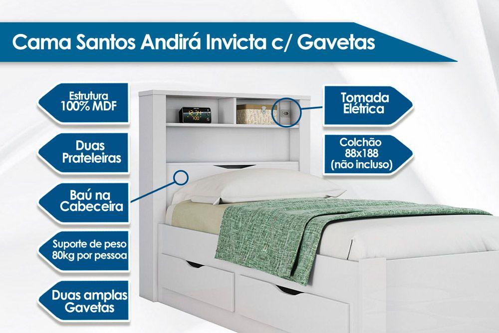 Cama Solteiro Santos Andirá Invicta c/ Gavetas