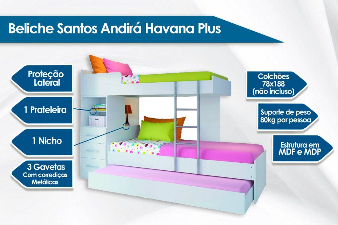 Treliche Santos Andirá Havana Plus c/ 3 Gavetas