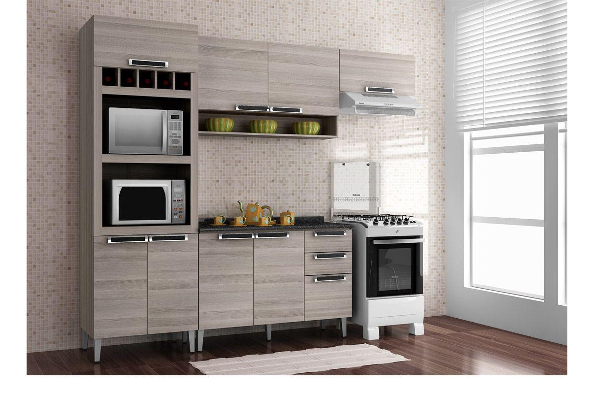 Armário de Cozinha Itatiaia Jazz Madeira 2 Portas C/ Nicho 120cm