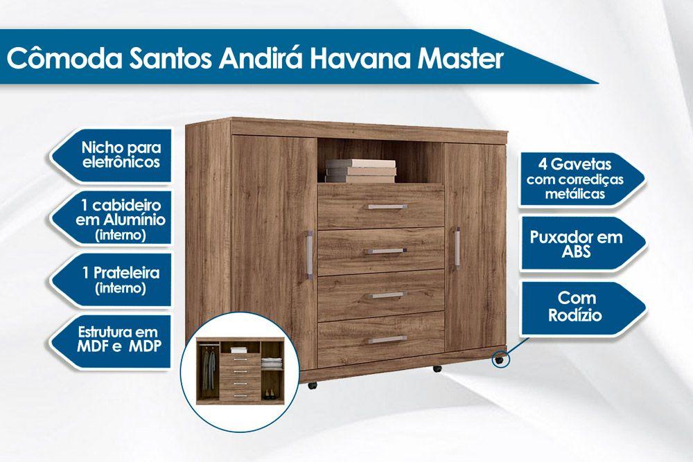 Cômoda Santos Andirá Havana Master 2.4 c/ Rodízio