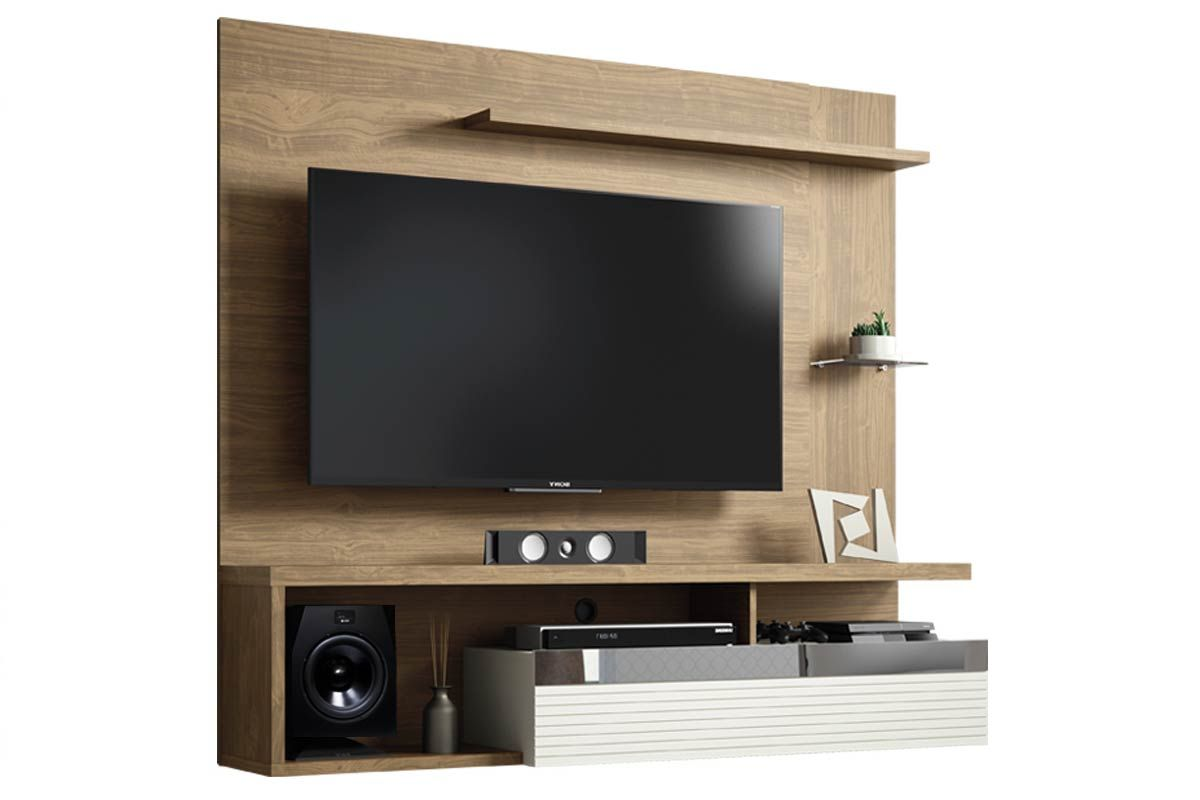 Painel Home Theater Linea Brasil TijucaCor Avelã c/ Off White