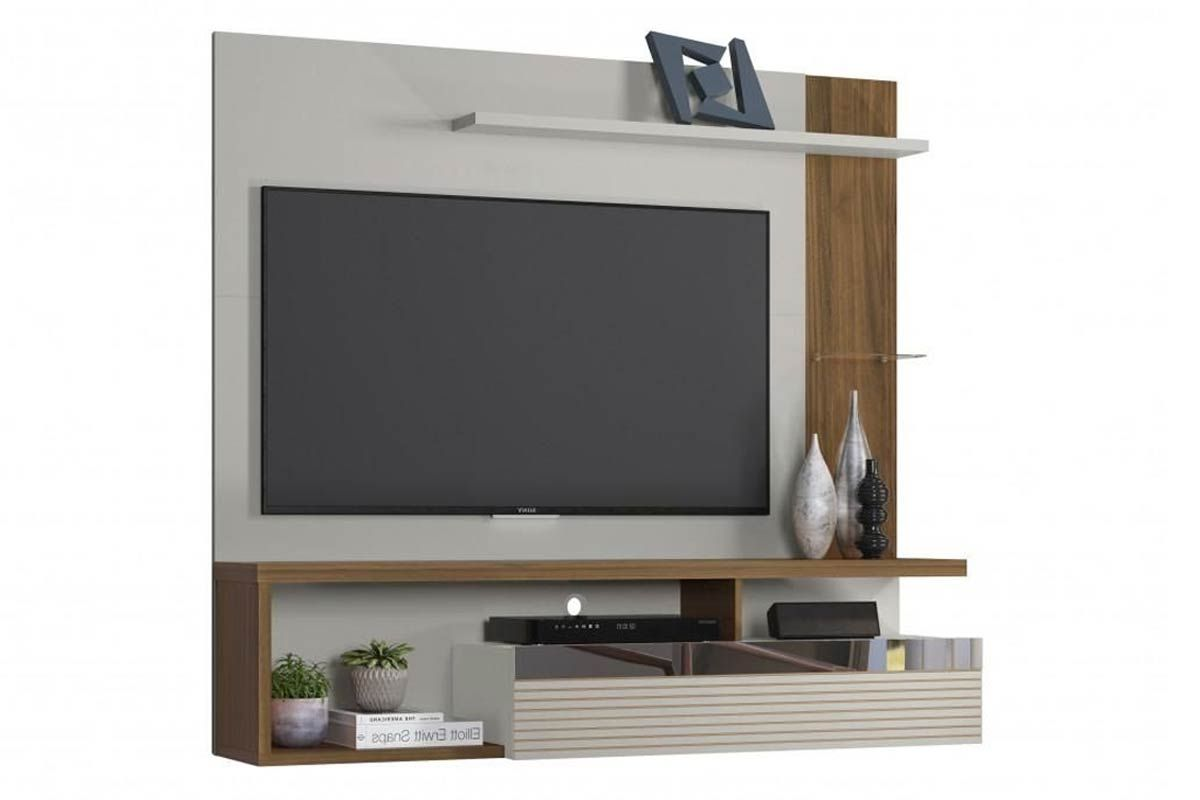 Painel Home Theater Linea Brasil TijucaCor Off White c/ Nogueira