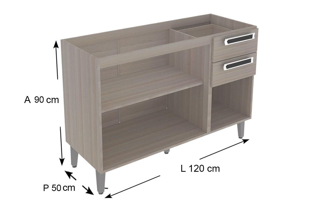 Gabinete de Cozinha Itatiaia Jazz Madeira Triplo 2 Gavetas e 3 Portas C/ Tampo 1,20cm