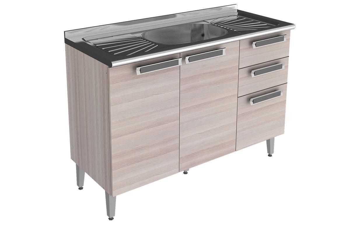 Gabinete De Cozinha Com Pia 1 00 Metro Rorato Pictures to pin on  #755E56 1200 800