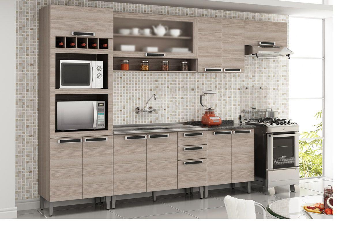 Gabinete de Cozinha Itatiaia Jazz Madeira Triplo 2 Gavetas e 3 Portas Pia Inox 1,20cm