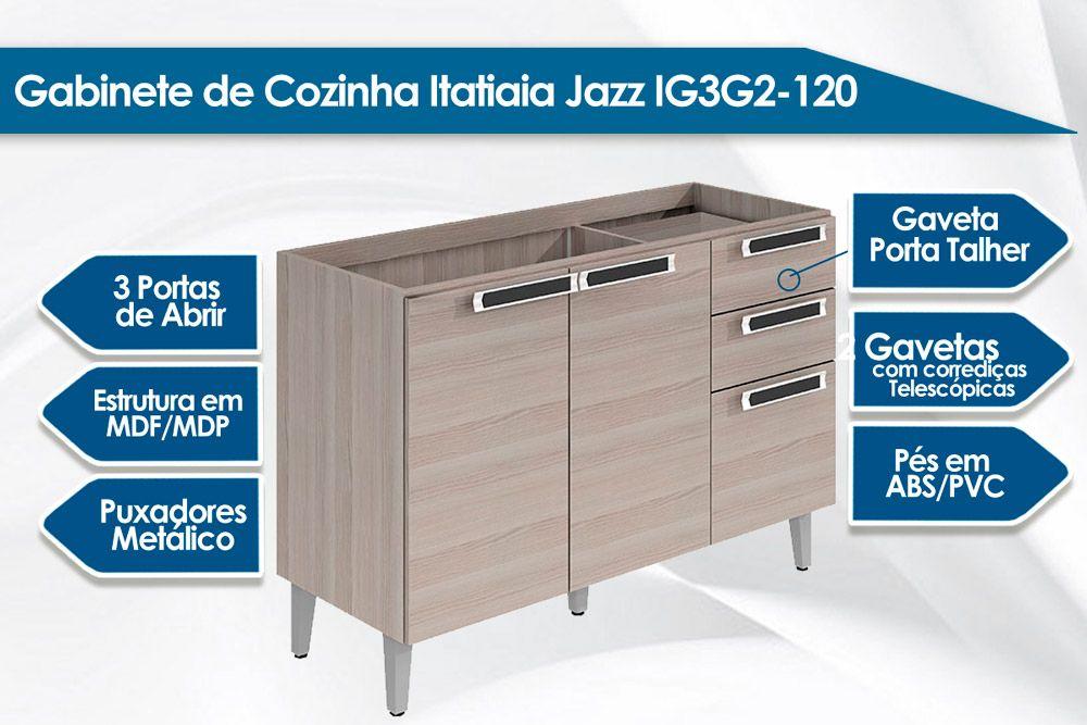 Gabinete de Cozinha Itatiaia Jazz Madeira Triplo 2 Gavetas e 3 Portas S/ Tampo 1,20cm