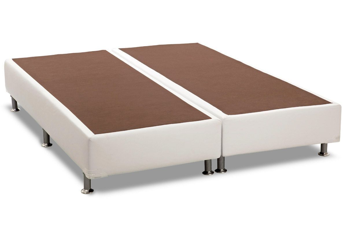 Cama Box Base Ortobom Courino Branco 30Cama Box King Size - 1,93x2,03x0,30 - Sem Colchão