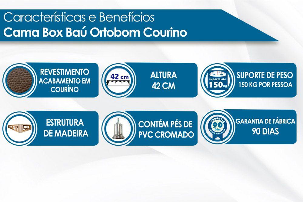 Cama Box Base Ortobom Courino Preto 30