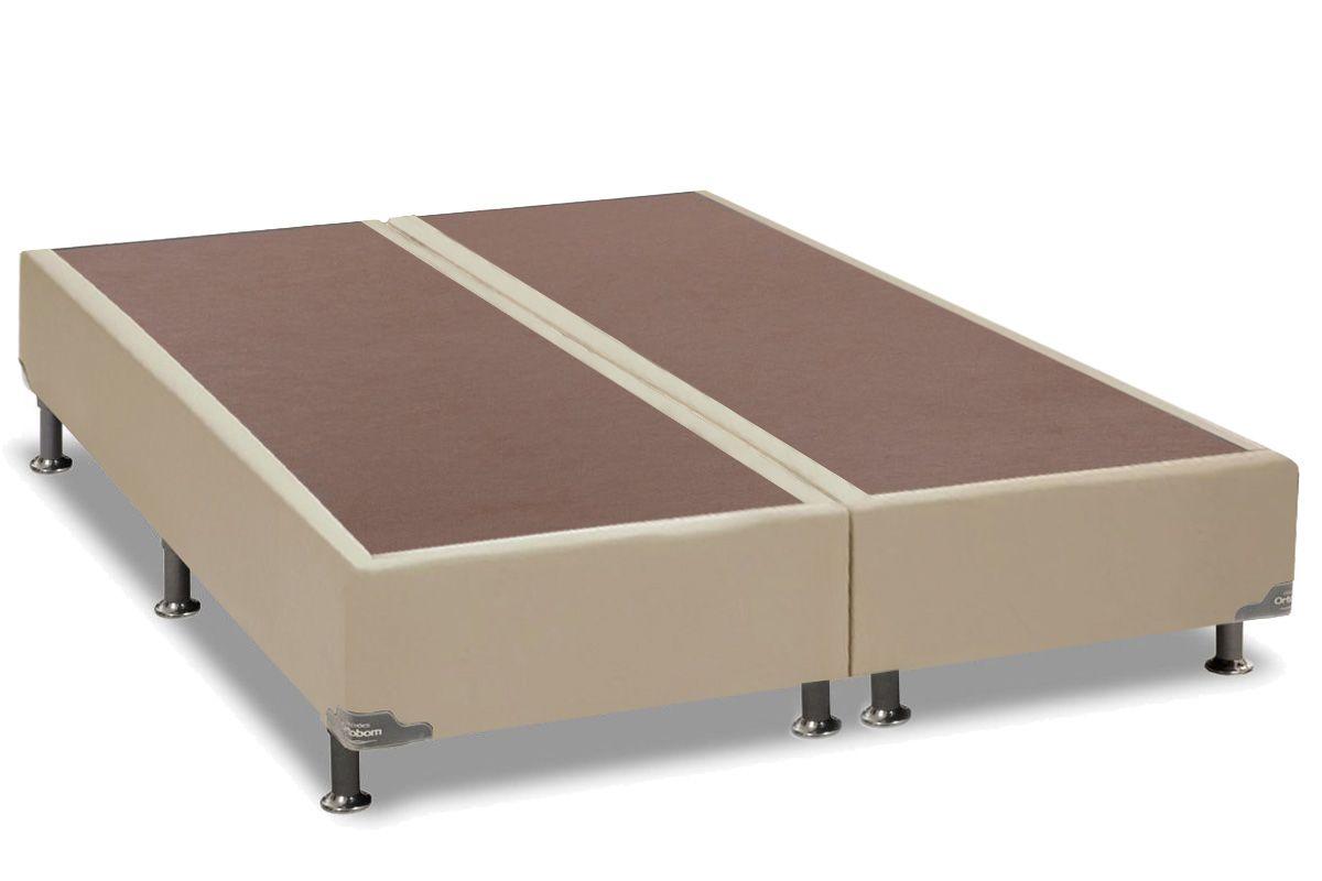 Cama Box Base Ortobom Courino Bege 30Cama Box Queen Size - 1,58x1,98x0,30 - Sem Colchão