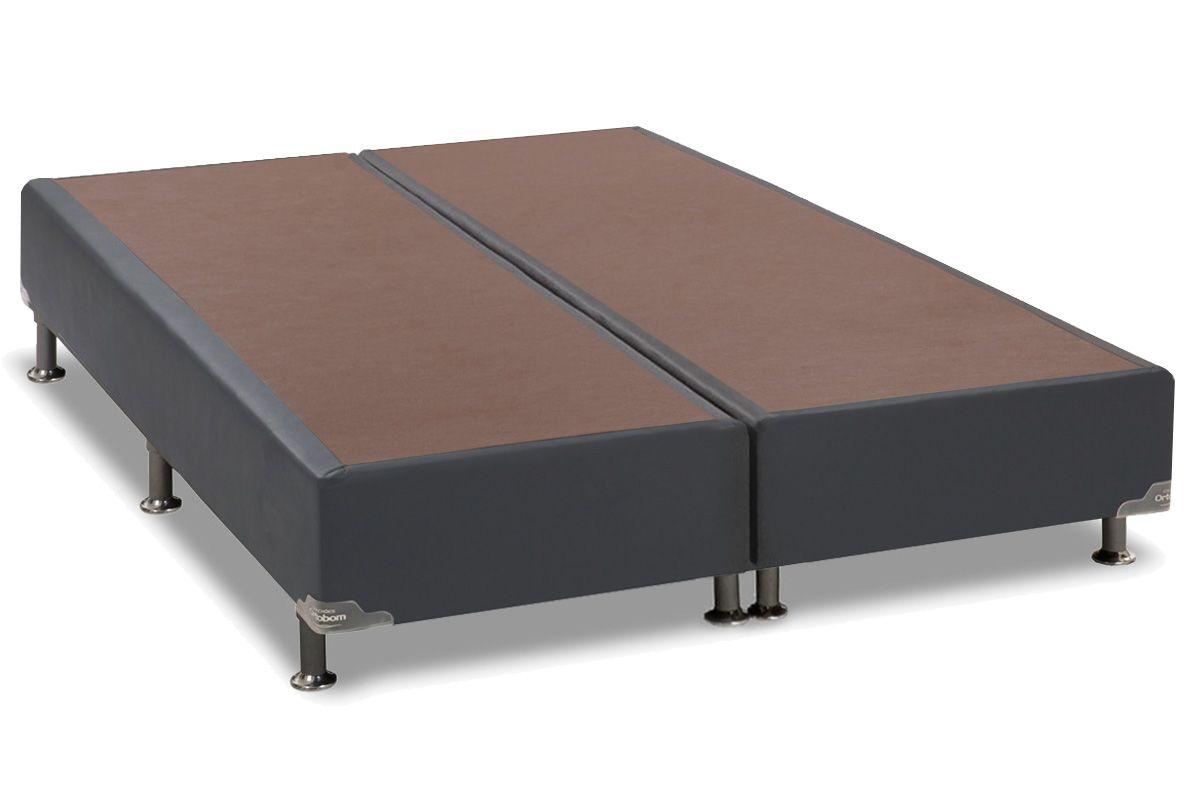Cama Box Base Ortobom Courino Cinza 30Cama Box Queen Size - 1,58x1,98x0,30 - Sem Colchão
