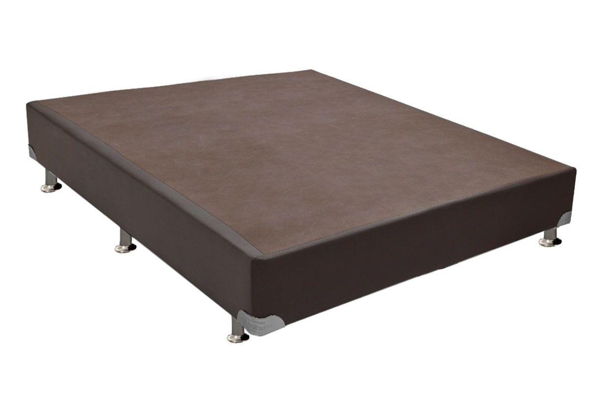 Cama Box Base Ortobom Courino Marrom 30Cama Box Casal - 1,38x1,88x0,30 - Sem Colchão