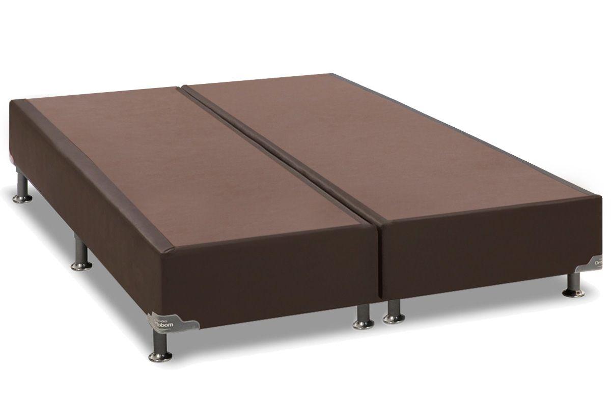 Cama Box Base Ortobom Courino Marrom 30Cama Box Queen Size - 1,58x1,98x0,30 - Sem Colchão