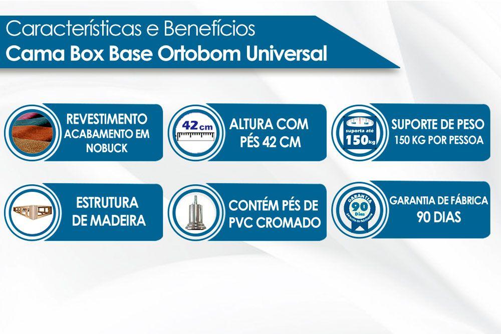 Cama Box Base Ortobom Nobuck Bege 30