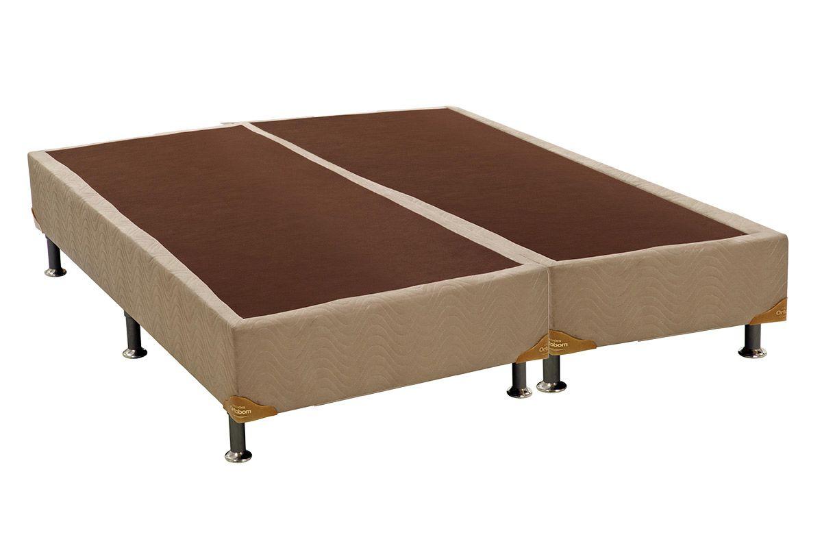 Cama Box Base Ortobom Nobuck Bege 30Cama Box King Size - 1,86x1,98x0,30 - Sem Colchão