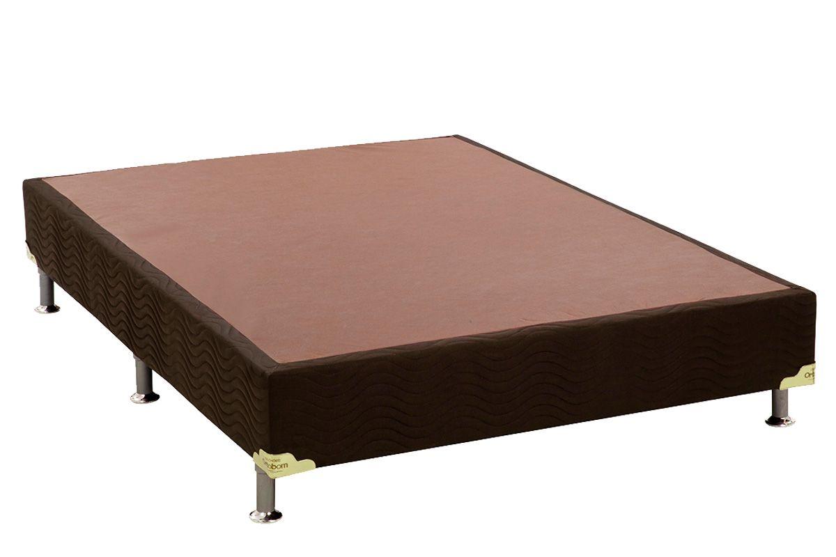 Cama Box Base Ortobom Nobuck Marrom 30Cama Box Casal - 1,28x1,88x0,30 - Sem Colchão