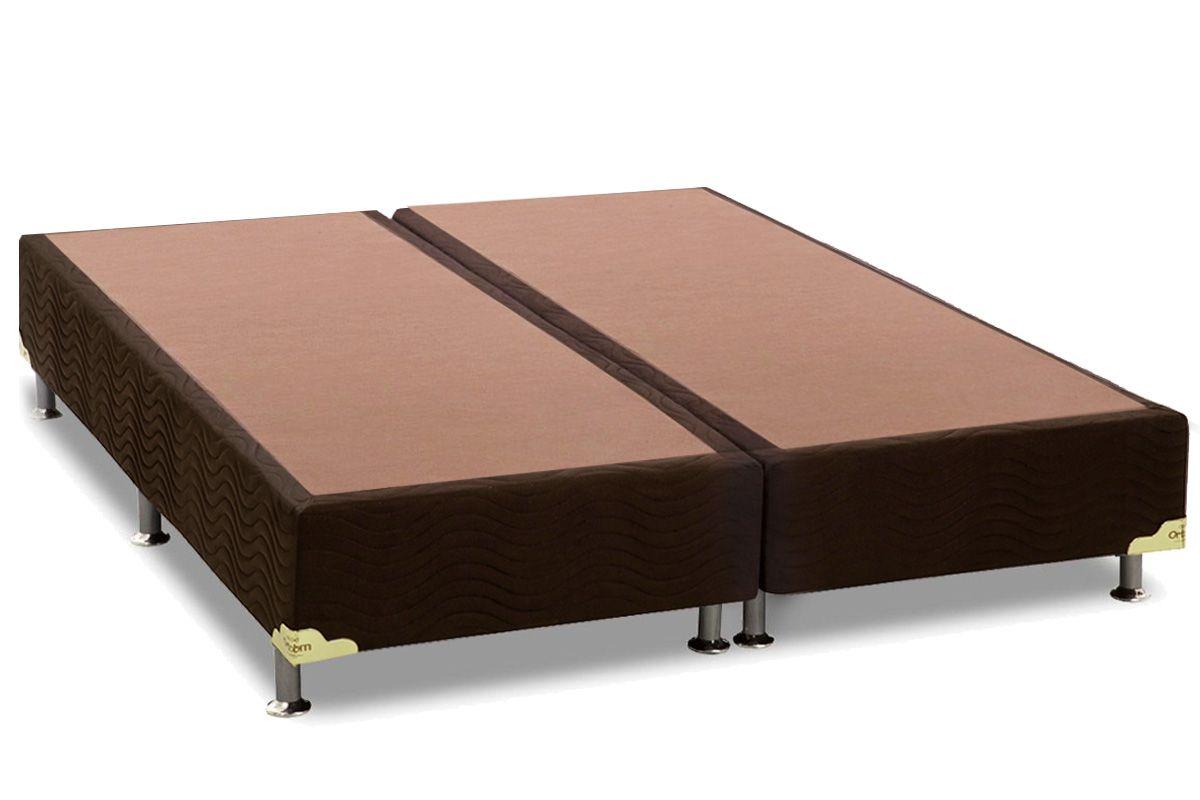 Cama Box Base Ortobom Nobuck Marrom 30Cama Box King Size - 1,86x1,98x0,30 - Sem Colchão