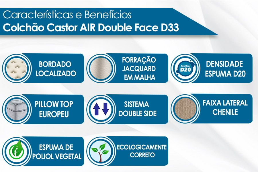 Colchão Castor Espuma D33 Black e White AIR D.F