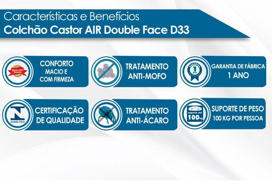Colchão Castor Espuma D33 Black e White Double Face