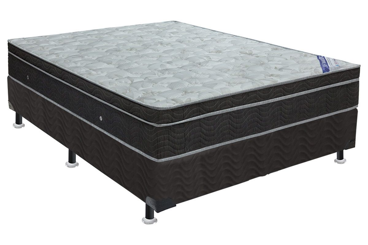 Conjunto Cama Box - Colchão Ortobom Light Ortopillow + Cama Box Nobuck Nero Black