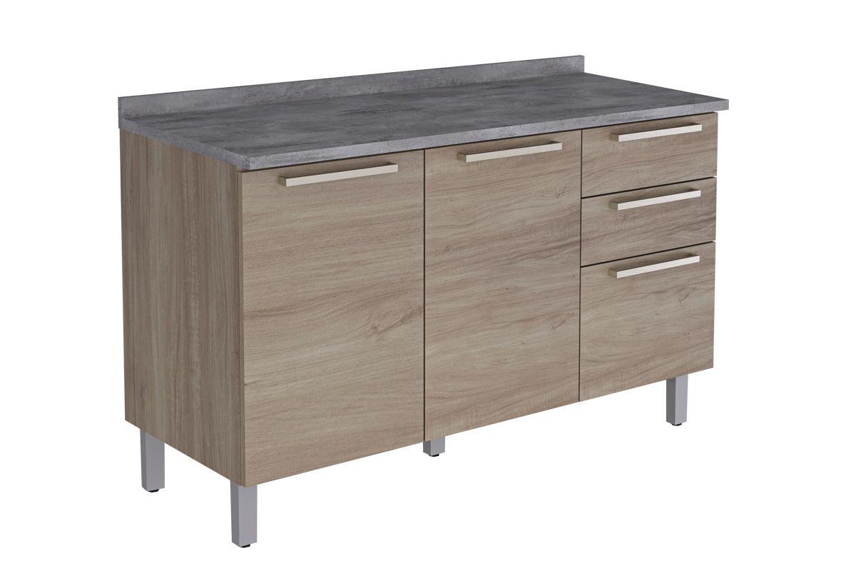 Gabinete de Cozinha Itatiaia Fluence GB 3P2G-120 Madeira c/ 3 Portas e 2 Gavetas 120cmCor Aveiro Oak