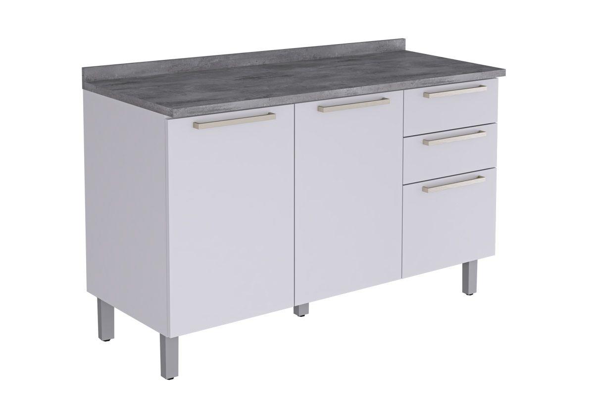 Gabinete de Cozinha Itatiaia Fluence GB 3P2G-120 Madeira c/ 3 Portas e 2 Gavetas 120cmCor Branco
