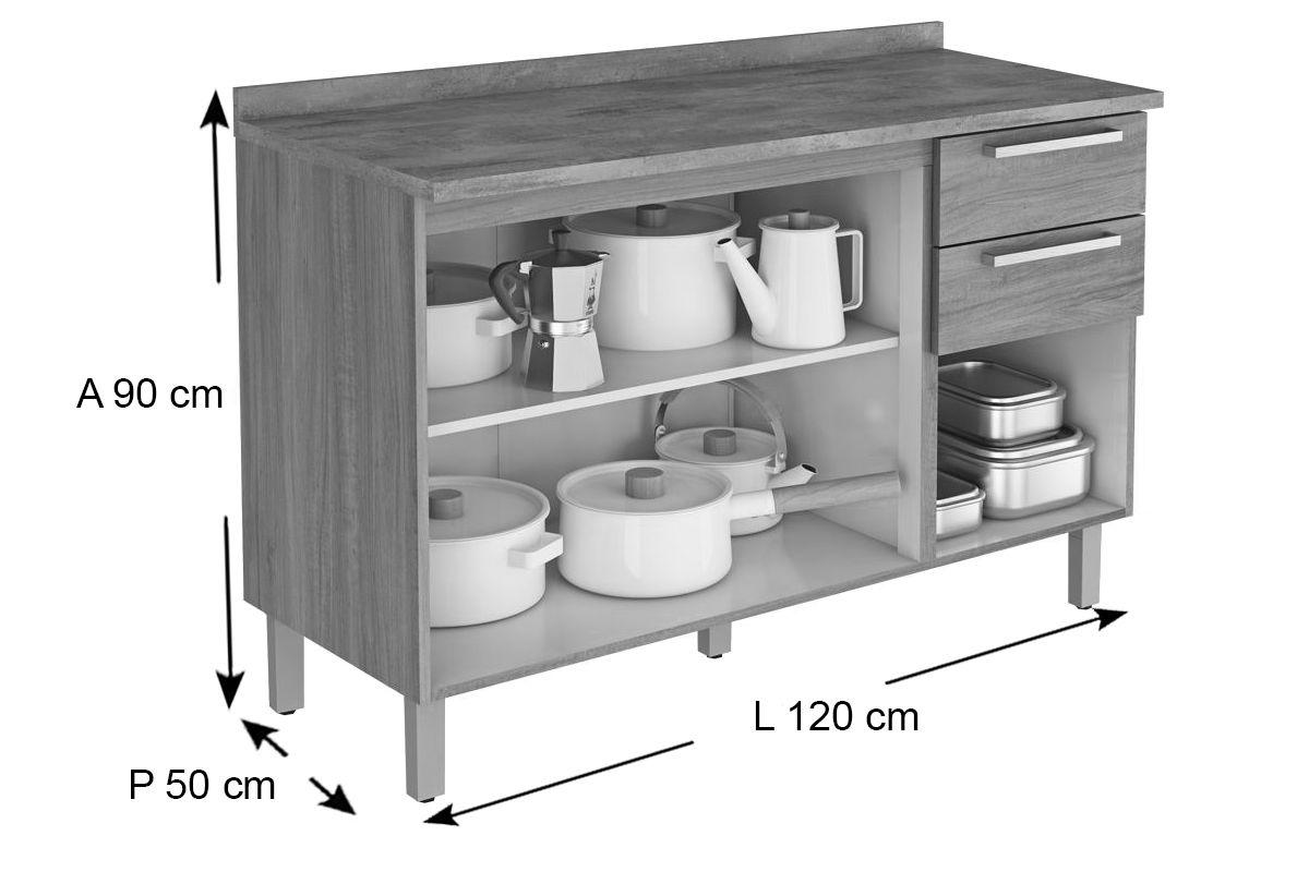 Gabinete de Cozinha Itatiaia Fluence GB 3P2G-120 Madeira c/ 3 Portas e 2 Gavetas 120cm
