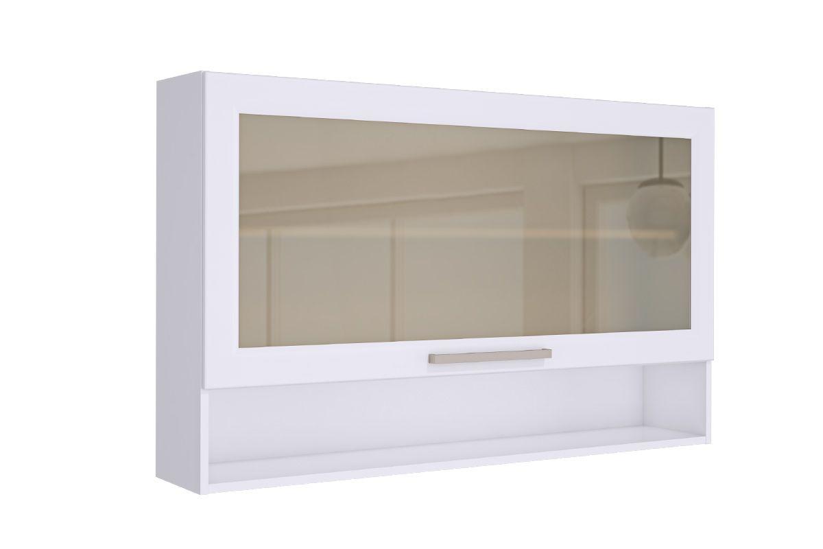 Armário de Cozinha Itatiaia Aéreo Fluence PD 1PHV-120 Madeira c/1 Portas c/ Vidro e Nicho 120cmCor Branco c/ Vidro Reflecta e LED