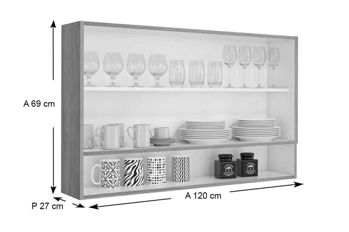 Armário de Cozinha Itatiaia Aéreo Fluence PD 1PHV-120 Madeira c/1 Portas c/ Vidro e Nicho 120cm