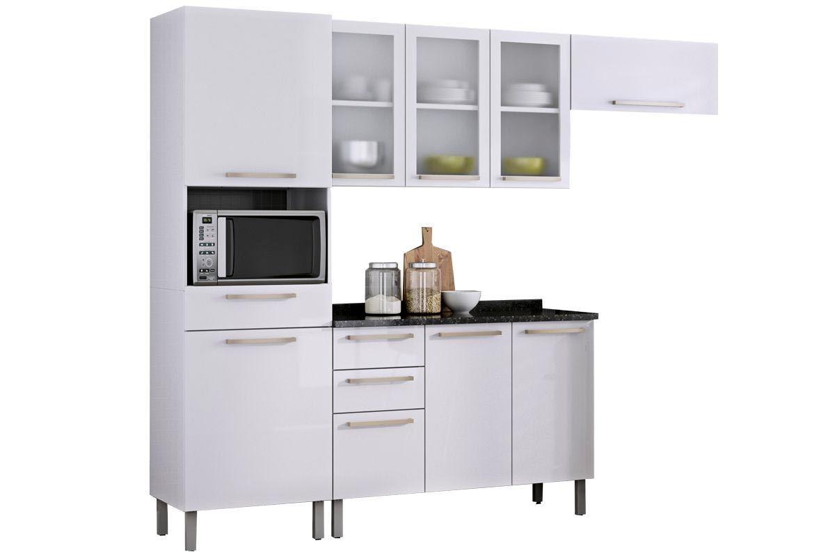 Cozinha Compacta Itatiaia Dandara Aço (COZ 3) 4 Peças (01 Paneleiro 02 Armários e 01 Gabinete) c/ 3 Portas de VidroCor Branco
