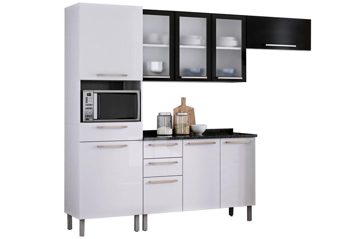 Cozinha Compacta Itatiaia Dandara Aço (COZ 3) 4 Peças (01 Paneleiro 02 Armários e 01 Gabinete) c/ 3 Portas de VidroCor Branco c/ Preto
