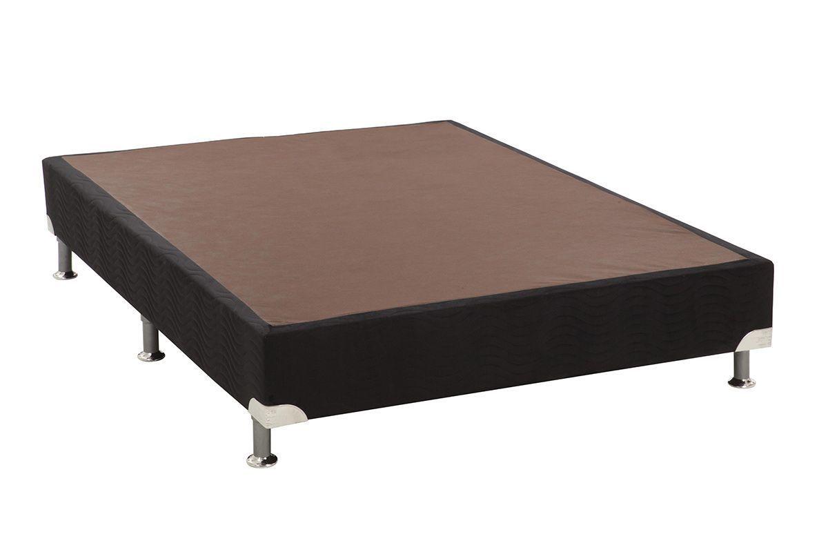 Cama Ortobom Box Base Americana Nobuck Nero Black 23Cama Box Casal Inteiriço - 1,38x1,88x0,23 - Sem Colchão